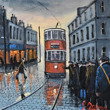 James Downie Original Oil Painting Queuing For The Tram